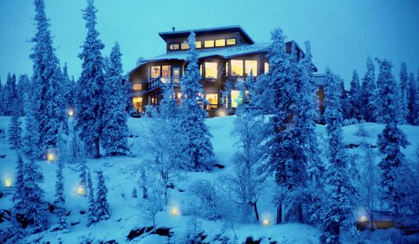 Lodges im Winter